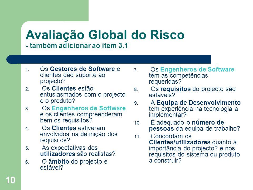 10 Avaliação Global do Risco - também adicionar ao item 3.1 1. Os Gestores de Software e clientes dão suporte ao projecto? 2. Os Clientes estão entusi