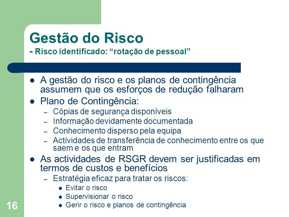 16 Gestão do Risco - Risco identificado: rotação de pessoal A gestão do risco e os planos de contingência assumem que os esforços de redução falharam