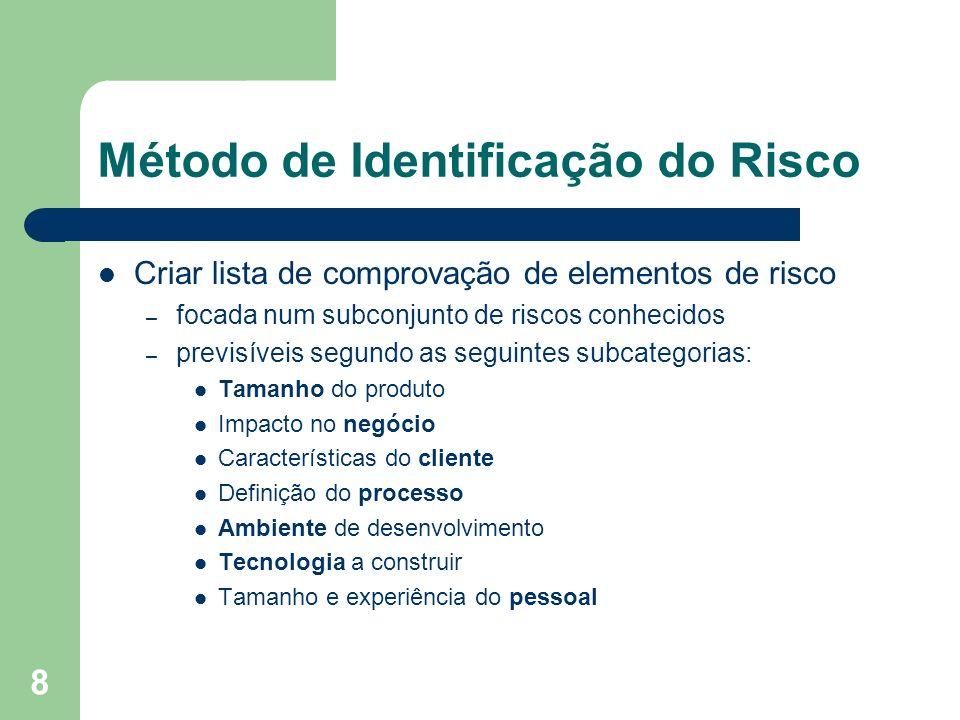 8 Método de Identificação do Risco Criar lista de comprovação de elementos de risco – focada num subconjunto de riscos conhecidos – previsíveis segund