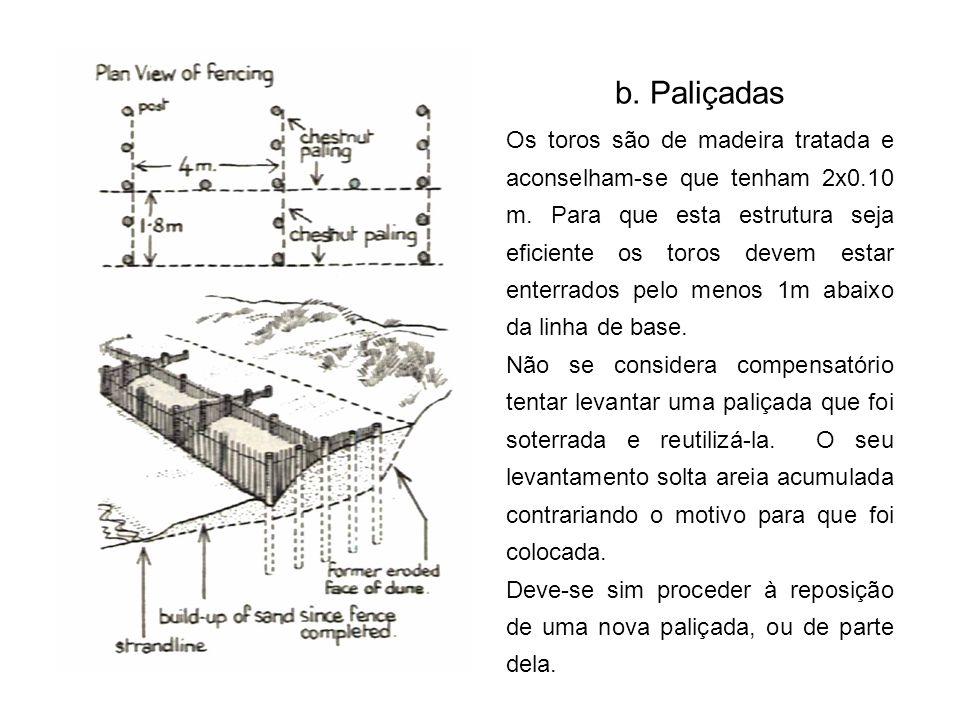 b.Paliçadas Os toros são de madeira tratada e aconselham-se que tenham 2x0.10 m.