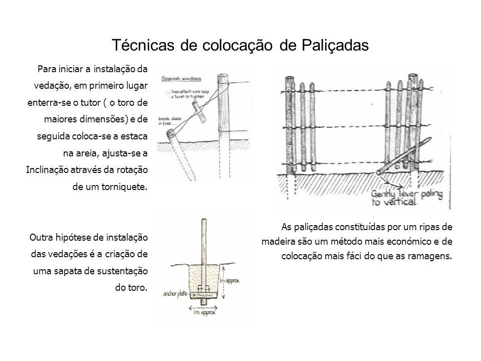 Técnicas de colocação de Paliçadas Para iniciar a instalação da vedação, em primeiro lugar enterra-se o tutor ( o toro de maiores dimensões) e de seguida coloca-se a estaca na areia, ajusta-se a Inclinação através da rotação de um torniquete.