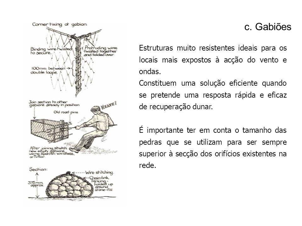 c. Gabiões Estruturas muito resistentes ideais para os locais mais expostos à acção do vento e ondas. Constituem uma solução eficiente quando se prete