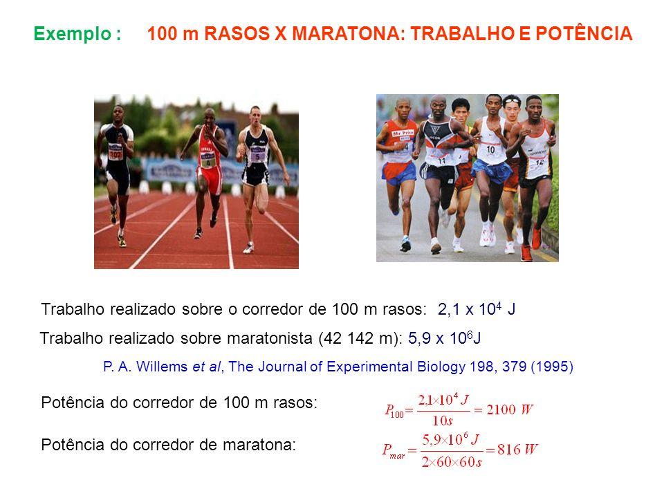 Exemplo : 100 m RASOS X MARATONA: TRABALHO E POTÊNCIA Trabalho realizado sobre o corredor de 100 m rasos: 2,1 x 10 4 J Trabalho realizado sobre marato