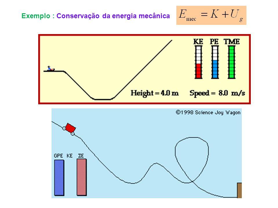 Exemplo : Conservação da energia mecânica