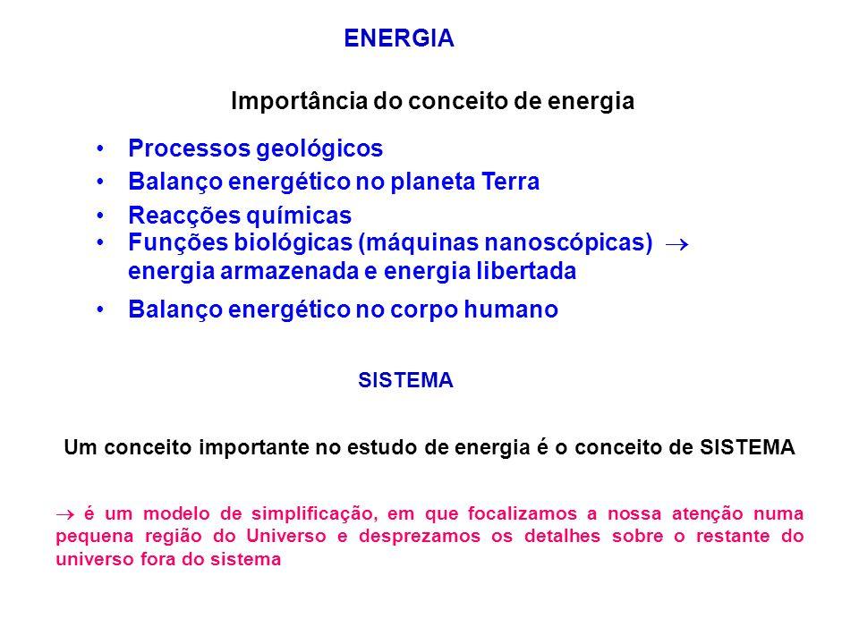 ENERGIA Importância do conceito de energia Processos geológicos Balanço energético no planeta Terra Reacções químicas Funções biológicas (máquinas nanoscópicas) energia armazenada e energia libertada Balanço energético no corpo humano SISTEMA Um conceito importante no estudo de energia é o conceito de SISTEMA é um modelo de simplificação, em que focalizamos a nossa atenção numa pequena região do Universo e desprezamos os detalhes sobre o restante do universo fora do sistema