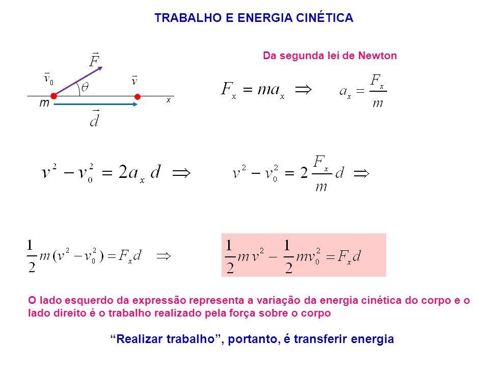 Da segunda lei de Newton O lado esquerdo da expressão representa a variação da energia cinética do corpo e o lado direito é o trabalho realizado pela