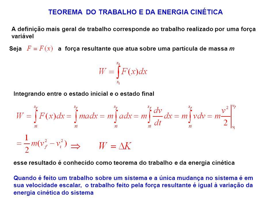 Seja a força resultante que atua sobre uma partícula de massa m TEOREMA DO TRABALHO E DA ENERGIA CINÉTICA A definição mais geral de trabalho correspon