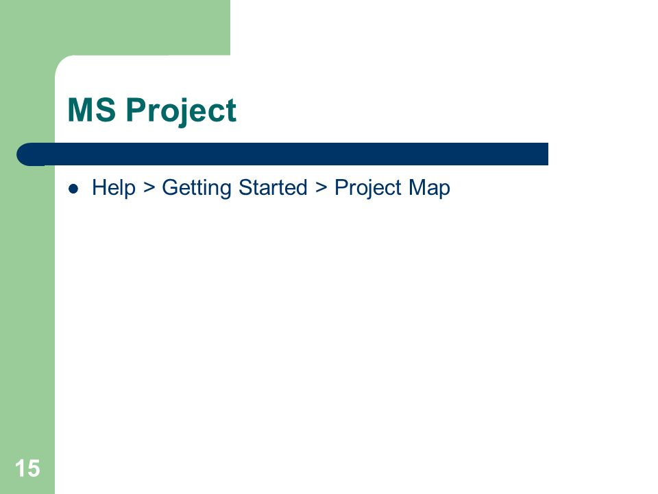 15 MS Project Help > Getting Started > Project Map