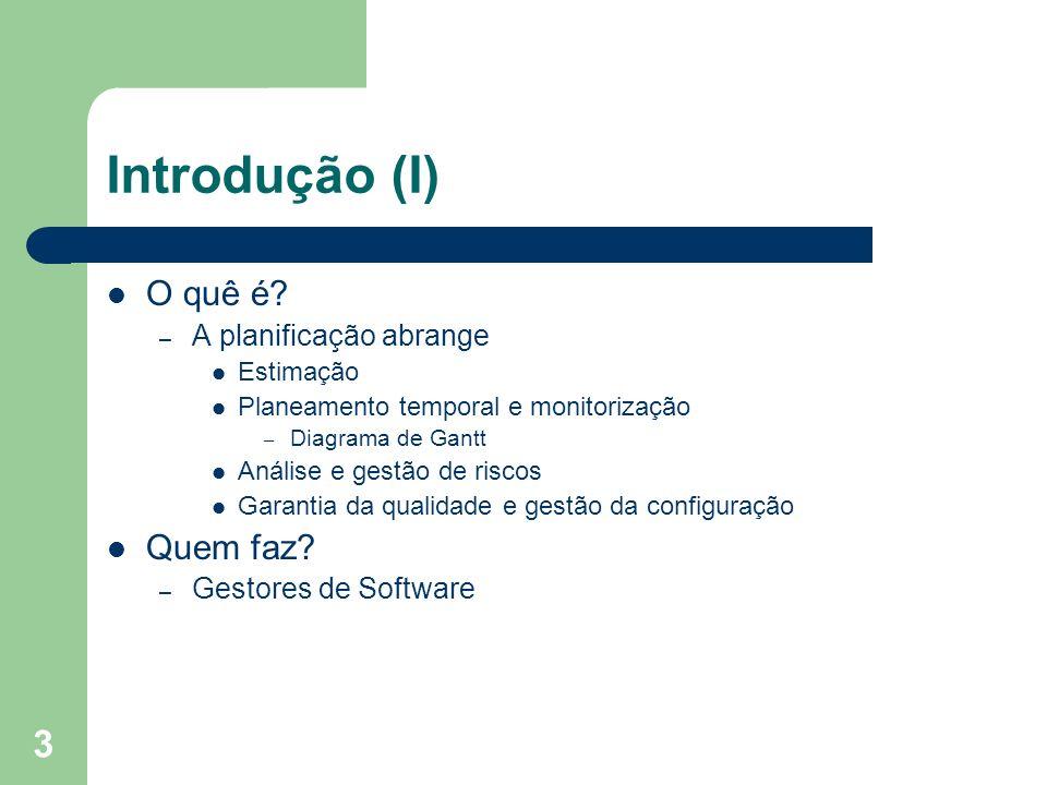 3 Introdução (I) O quê é? – A planificação abrange Estimação Planeamento temporal e monitorização – Diagrama de Gantt Análise e gestão de riscos Garan
