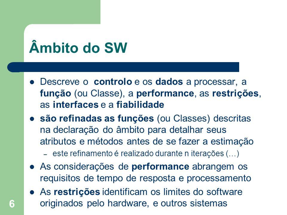 6 Âmbito do SW Descreve o controlo e os dados a processar, a função (ou Classe), a performance, as restrições, as interfaces e a fiabilidade são refin