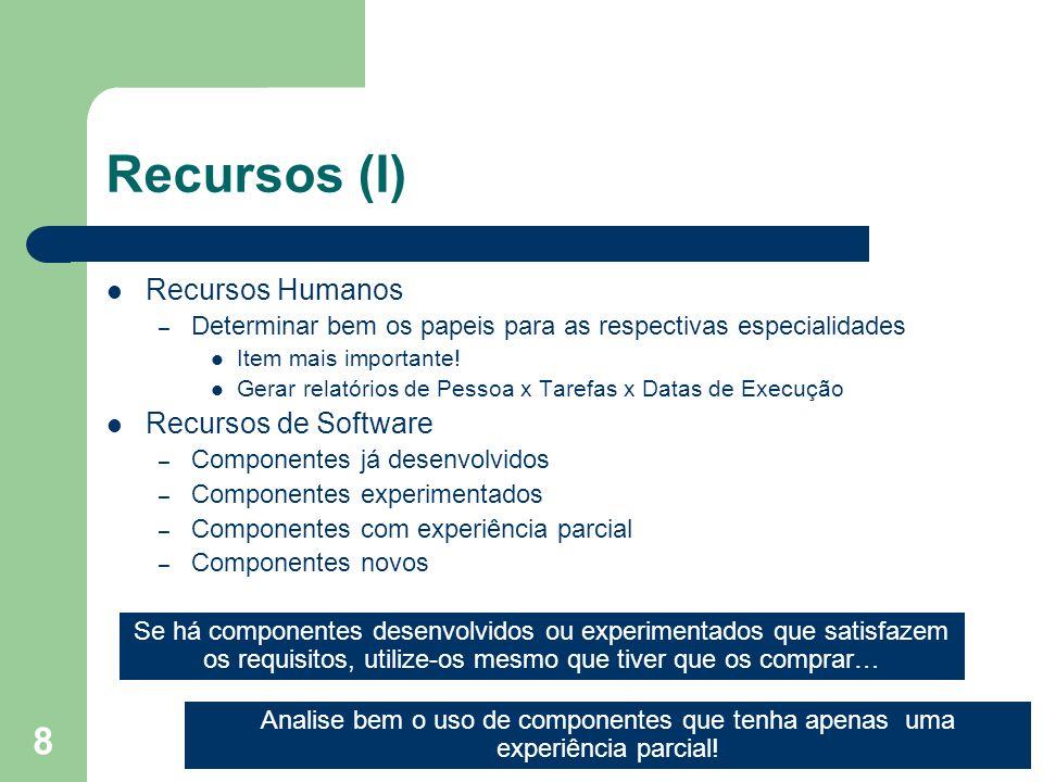 8 Recursos (I) Recursos Humanos – Determinar bem os papeis para as respectivas especialidades Item mais importante! Gerar relatórios de Pessoa x Taref
