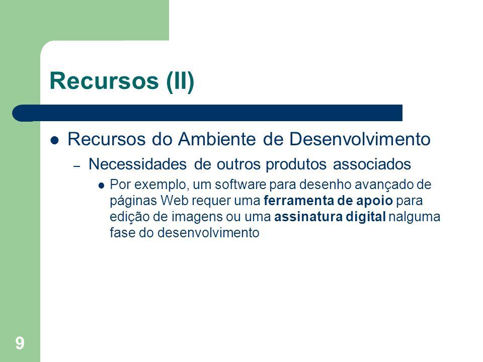 9 Recursos (II) Recursos do Ambiente de Desenvolvimento – Necessidades de outros produtos associados Por exemplo, um software para desenho avançado de