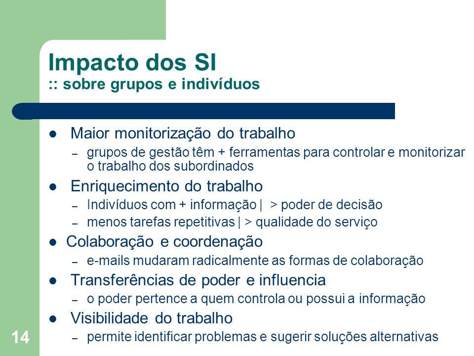 14 Impacto dos SI :: sobre grupos e indivíduos Maior monitorização do trabalho – grupos de gestão têm + ferramentas para controlar e monitorizar o tra