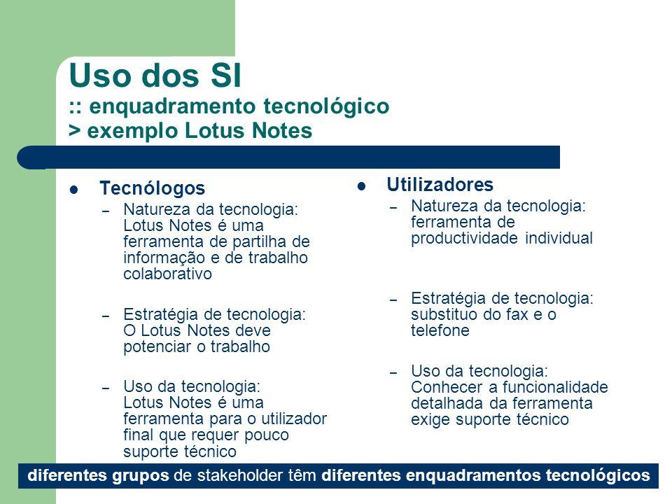 7 Uso dos SI :: enquadramento tecnológico > exemplo Lotus Notes Tecnólogos – Natureza da tecnologia: Lotus Notes é uma ferramenta de partilha de infor