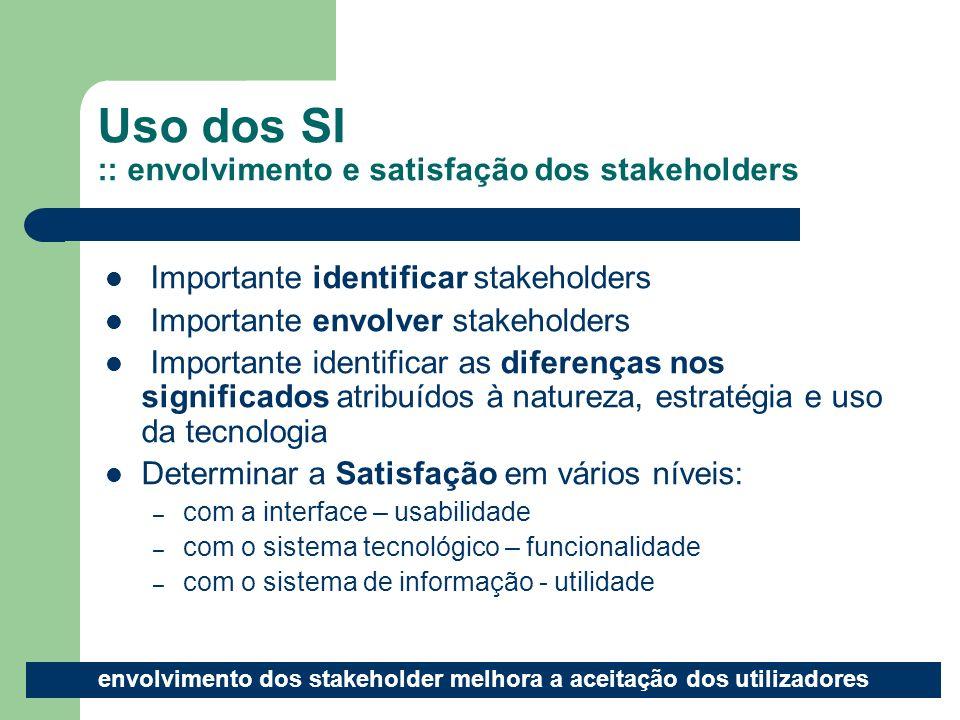 8 Uso dos SI :: envolvimento e satisfação dos stakeholders Importante identificar stakeholders Importante envolver stakeholders Importante identificar