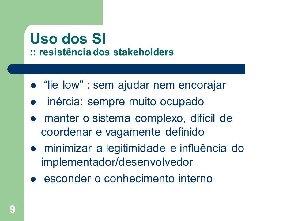 9 Uso dos SI :: resistência dos stakeholders lie low : sem ajudar nem encorajar inércia: sempre muito ocupado manter o sistema complexo, difícil de co