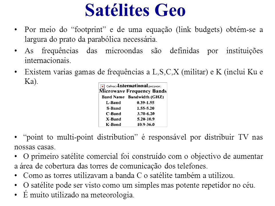 Satélites Geo Por meio do footprint e de uma equação (link budgets) obtém-se a largura do prato da parabólica necessária. As frequências das microonda