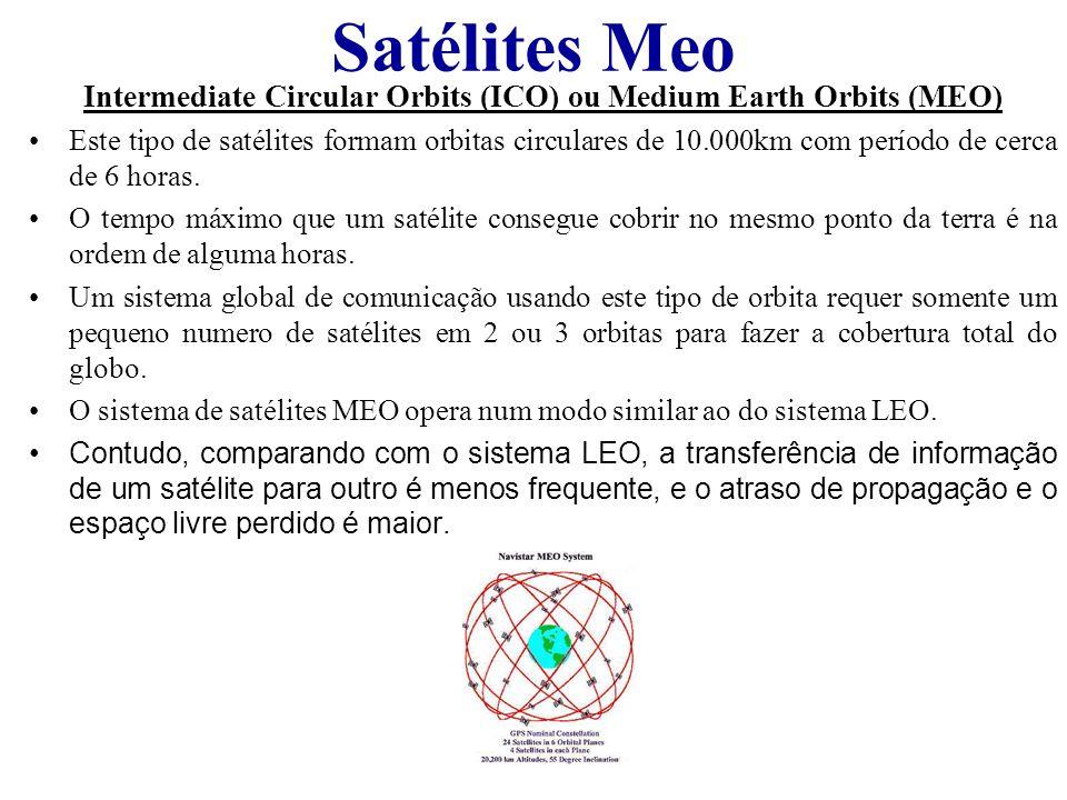 Satélites Meo Intermediate Circular Orbits (ICO) ou Medium Earth Orbits (MEO) Este tipo de satélites formam orbitas circulares de 10.000km com período