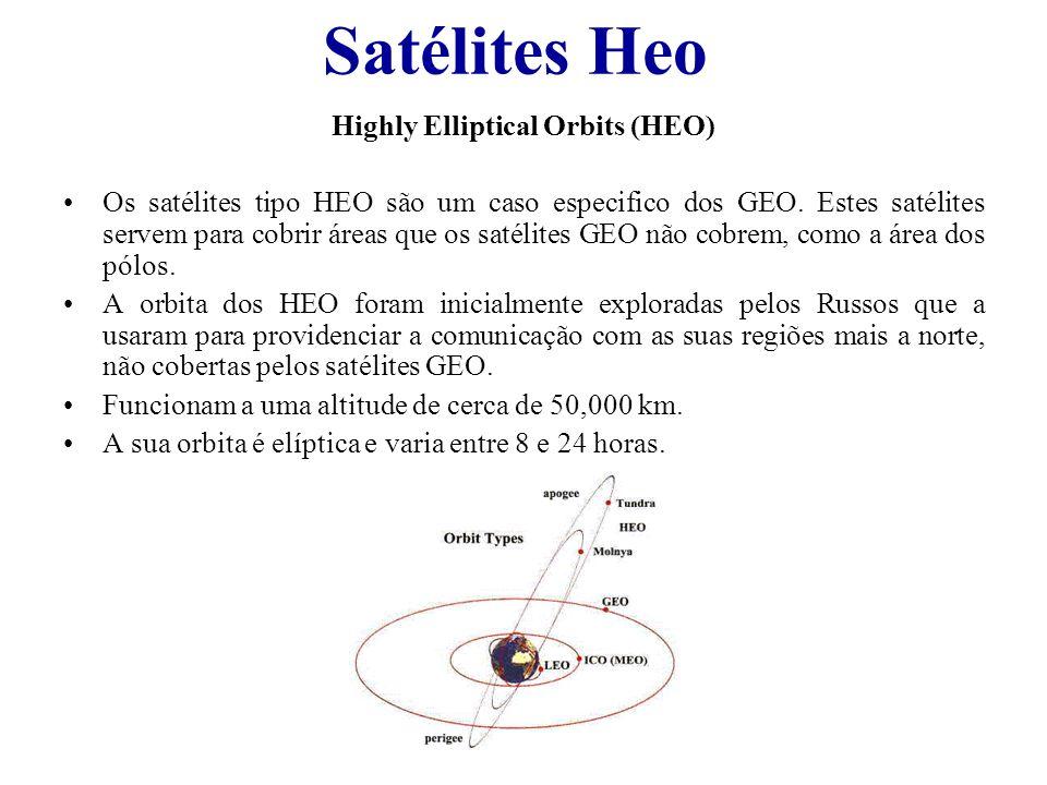 Satélites Heo Highly Elliptical Orbits (HEO) Os satélites tipo HEO são um caso especifico dos GEO. Estes satélites servem para cobrir áreas que os sat