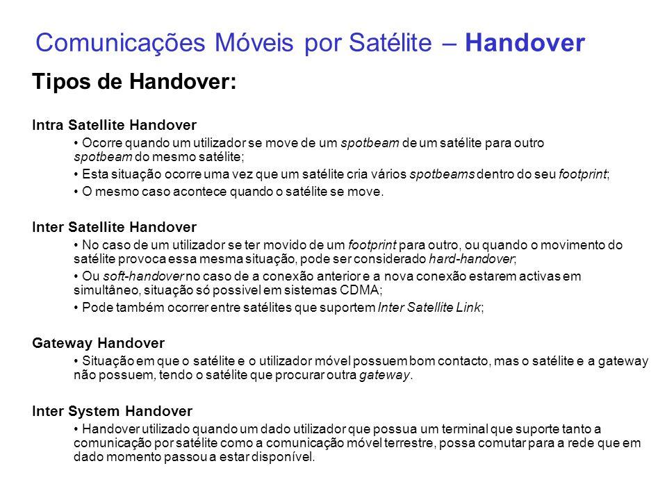 Comunicações Móveis por Satélite – Handover Tipos de Handover: Intra Satellite Handover Ocorre quando um utilizador se move de um spotbeam de um satél