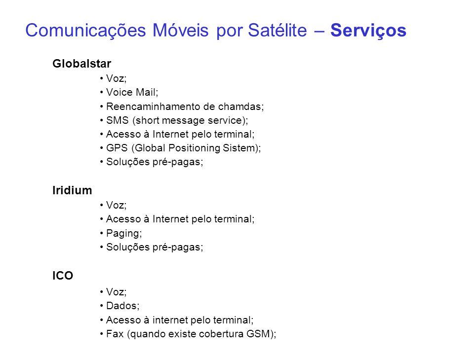 Comunicações Móveis por Satélite – Serviços Globalstar Voz; Voice Mail; Reencaminhamento de chamdas; SMS (short message service); Acesso à Internet pe