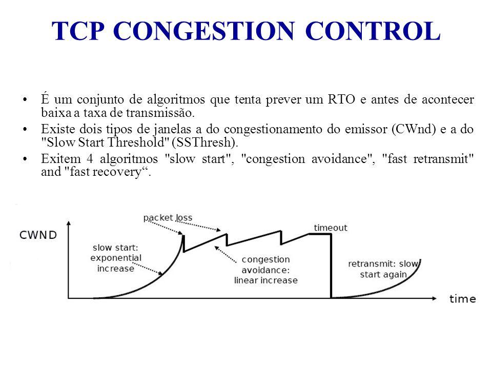 TCP CONGESTION CONTROL É um conjunto de algoritmos que tenta prever um RTO e antes de acontecer baixa a taxa de transmissão. Existe dois tipos de jane