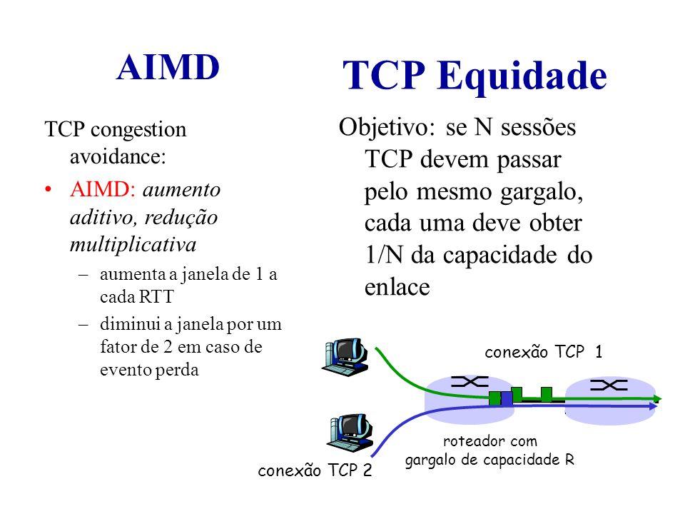 TCP Equidade Objetivo: se N sessões TCP devem passar pelo mesmo gargalo, cada uma deve obter 1/N da capacidade do enlace TCP congestion avoidance: AIM