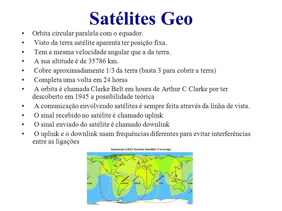 Satélites Geo Orbita circular paralela com o equador. Visto da terra satélite aparenta ter posição fixa. Tem a mesma velocidade angular que a da terra