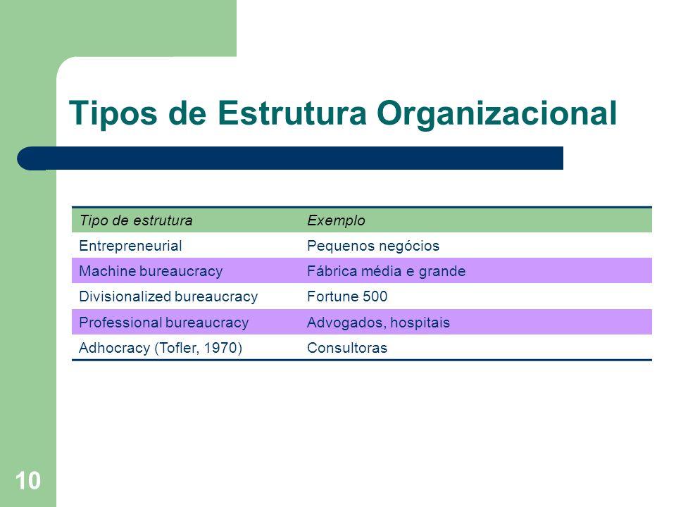 10 Tipos de Estrutura Organizacional Tipo de estruturaExemplo EntrepreneurialPequenos negócios Machine bureaucracyFábrica média e grande Divisionalize