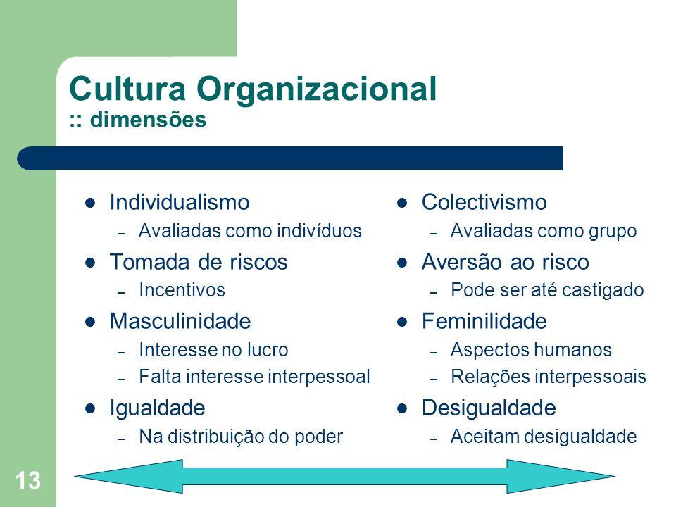 13 Cultura Organizacional :: dimensões Individualismo – Avaliadas como indivíduos Tomada de riscos – Incentivos Masculinidade – Interesse no lucro – F