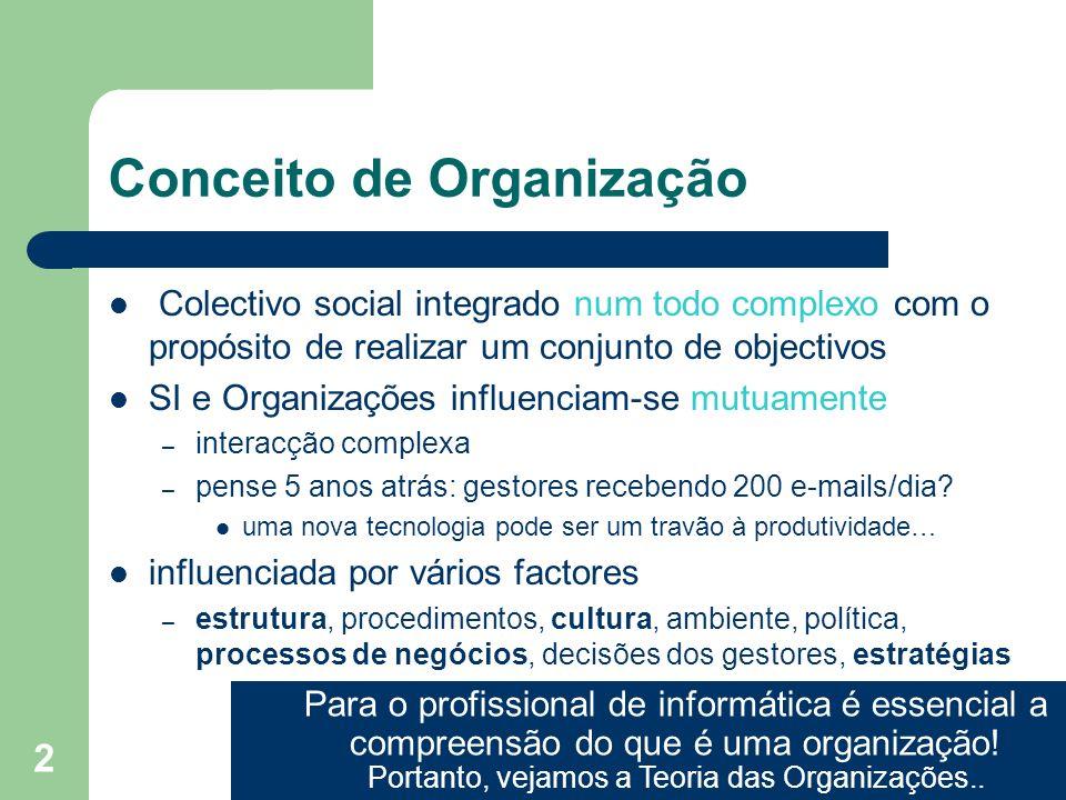 2 Conceito de Organização Colectivo social integrado num todo complexo com o propósito de realizar um conjunto de objectivos SI e Organizações influen