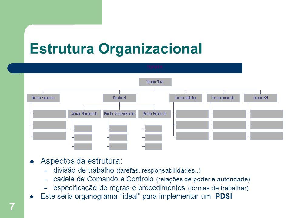 7 Estrutura Organizacional Aspectos da estrutura: – divisão de trabalho (tarefas, responsabilidades..) – cadeia de Comando e Controlo (relações de pod