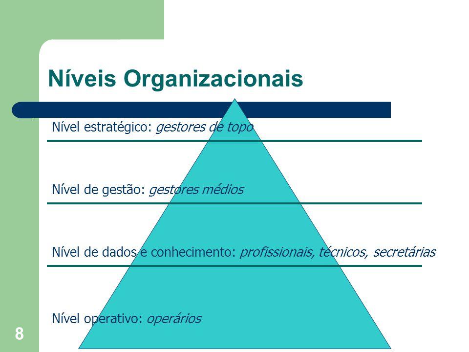 8 Níveis Organizacionais Nível operativo: operários Nível de dados e conhecimento: profissionais, técnicos, secretárias Nível de gestão: gestores médi
