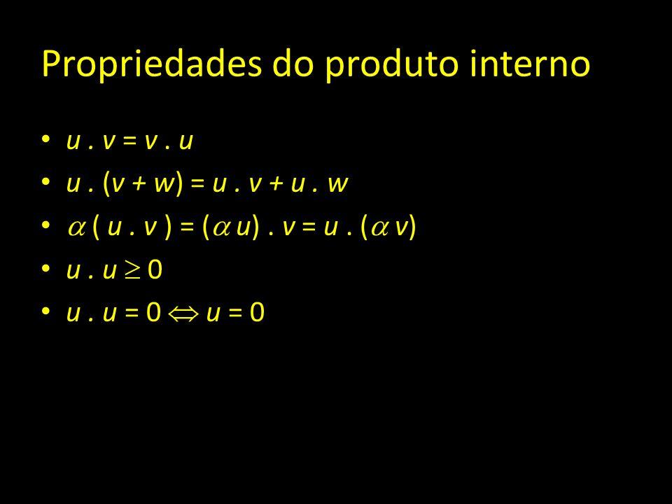 Propriedades do produto interno u. v = v. u u. (v + w) = u. v + u. w ( u. v ) = ( u). v = u. ( v) u. u 0 u. u = 0 u = 0