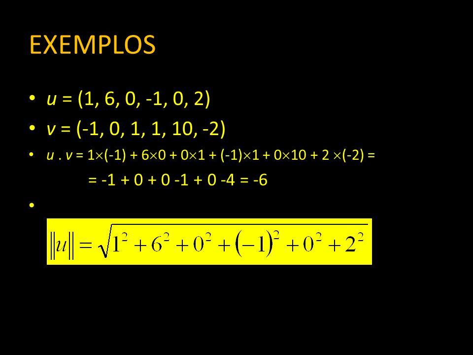 EXEMPLOS u = (1, 6, 0, -1, 0, 2) v = (-1, 0, 1, 1, 10, -2) u. v = 1 (-1) + 6 0 + 0 1 + (-1) 1 + 0 10 + 2 (-2) = = -1 + 0 + 0 -1 + 0 -4 = -6