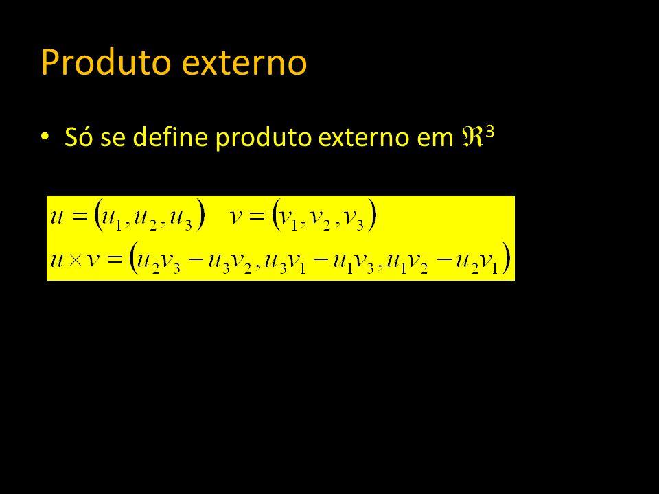 Produto externo Só se define produto externo em 3 ||u v|| 2 = ||u|| 2 ||v|| 2 sen 2