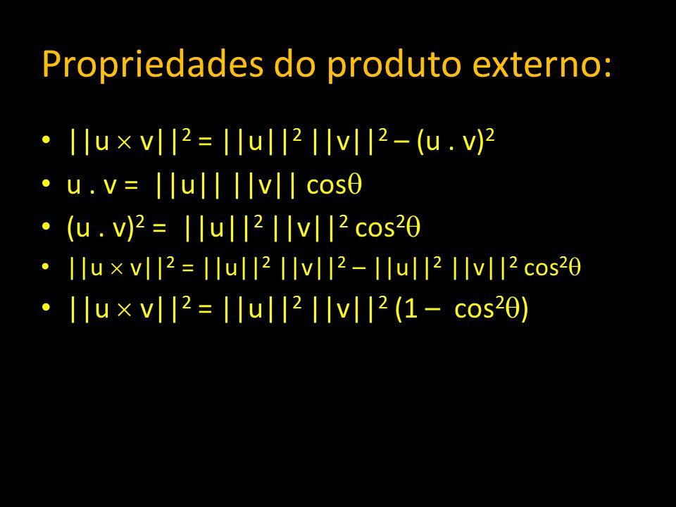 Propriedades do produto externo: ||u v|| 2 = ||u|| 2 ||v|| 2 – (u. v) 2 u. v = ||u|| ||v|| cos (u. v) 2 = ||u|| 2 ||v|| 2 cos 2 ||u v|| 2 = ||u|| 2 ||