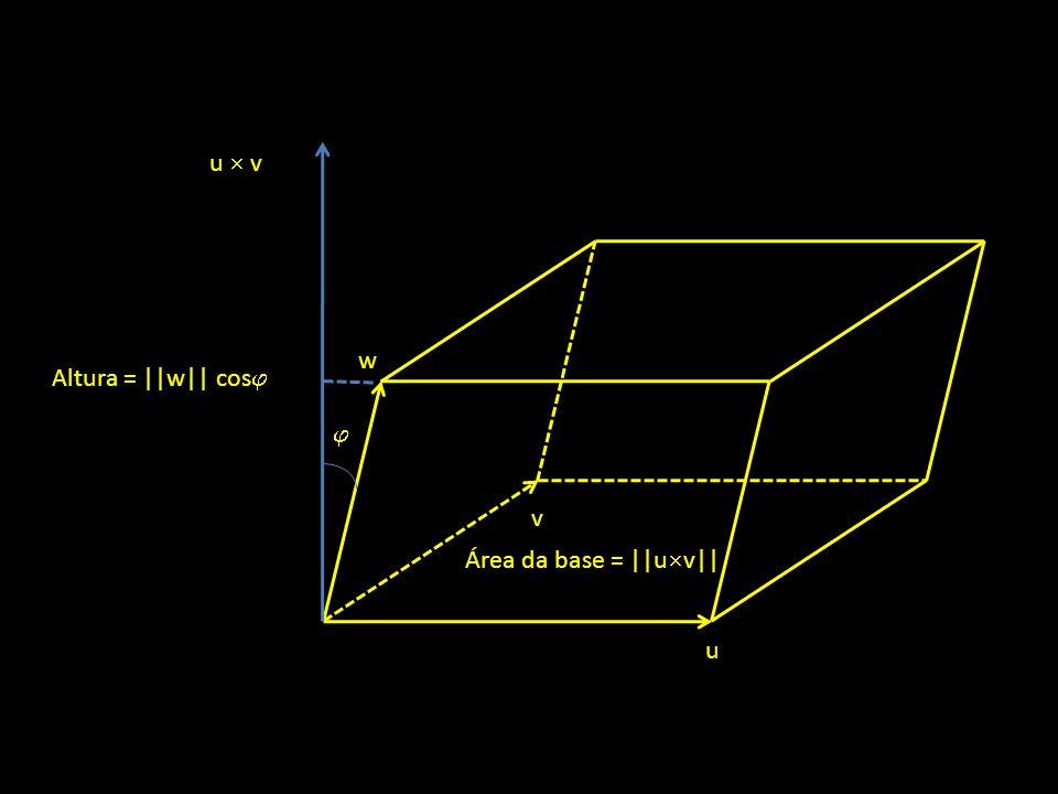 u v w u v Altura = ||w|| cos Área da base = ||u v||