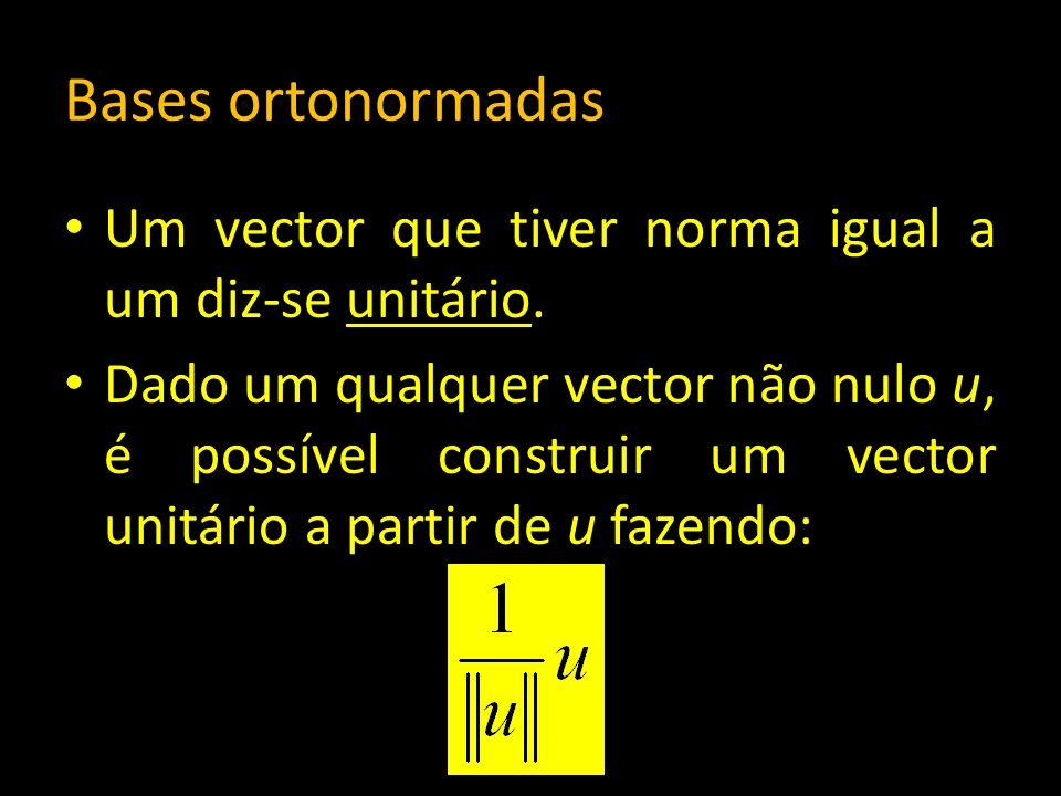 Bases ortonormadas Um vector que tiver norma igual a um diz-se unitário. Dado um qualquer vector não nulo u, é possível construir um vector unitário a