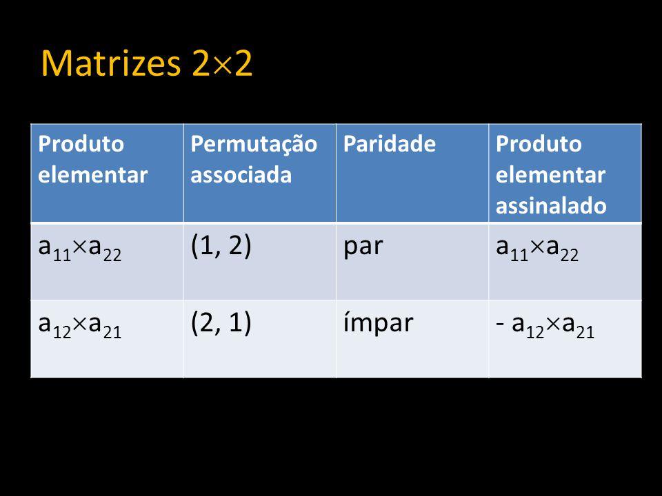 Matrizes 2 2 Produto elementar Permutação associada ParidadeProduto elementar assinalado a 11 a 22 (1, 2)par a 11 a 22 a 12 a 21 (2, 1)ímpar - a 12 a