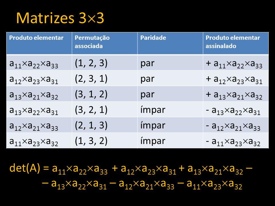 Matrizes 3 3 Produto elementarPermutação associada ParidadeProduto elementar assinalado a 11 a 22 a 33 (1, 2, 3)par + a 11 a 22 a 33 a 12 a 23 a 31 (2