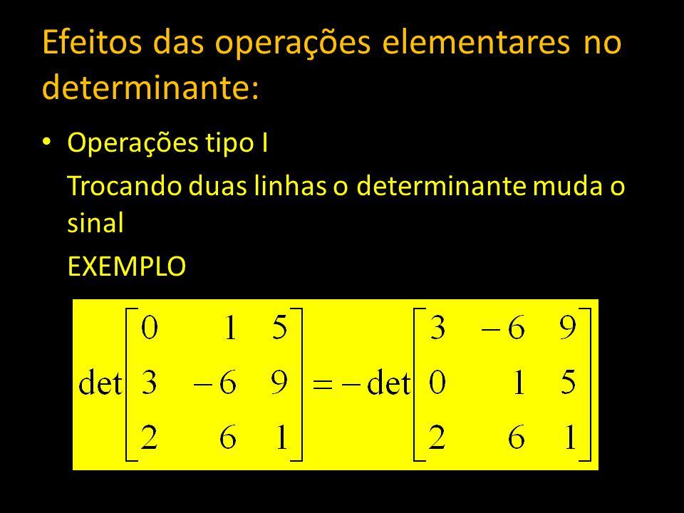 Efeitos das operações elementares no determinante: Operações tipo I Trocando duas linhas o determinante muda o sinal EXEMPLO
