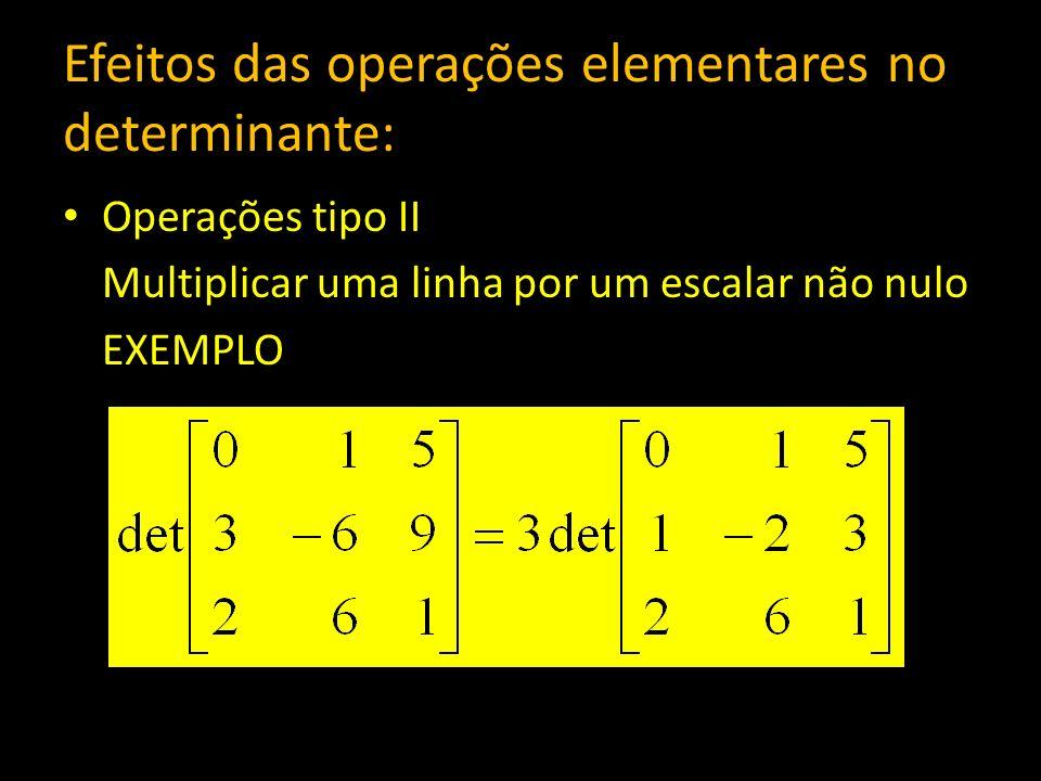 Efeitos das operações elementares no determinante: Operações tipo II Multiplicar uma linha por um escalar não nulo EXEMPLO