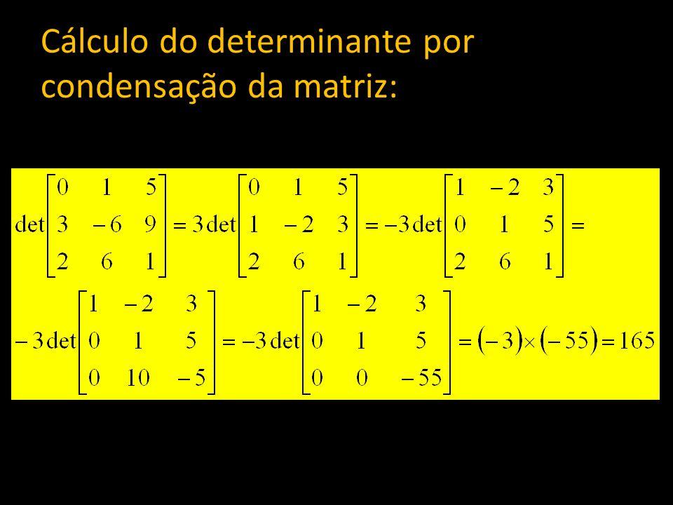 Cálculo do determinante por condensação da matriz: