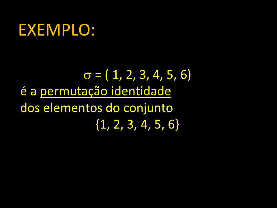 Produtos elementares assinalados: A é uma matriz quadrada n n Chama-se produto elementar assinalado da matriz A a um produto elementar com o sinal da permutação correspondente: sign( ) a 1p 1 a 2p 2 a 3p 3 … a np n Com = (p 1, p 2, …, p n )