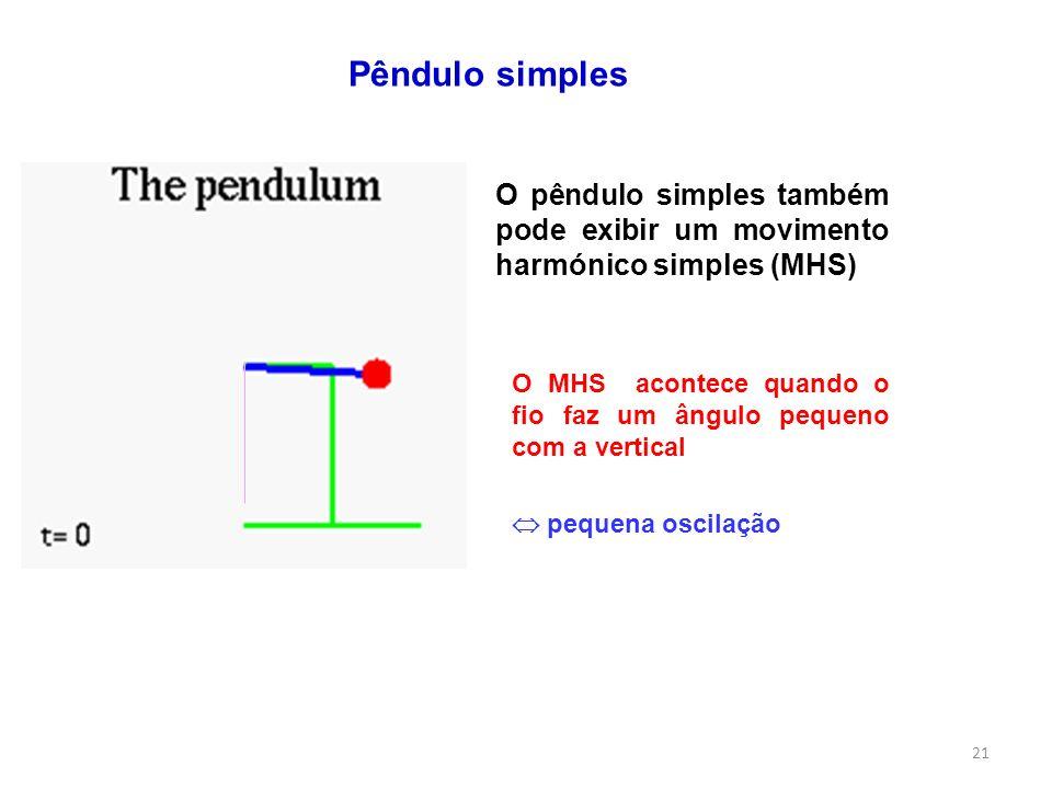 Pêndulo simples O pêndulo simples também pode exibir um movimento harmónico simples (MHS) O MHS acontece quando o fio faz um ângulo pequeno com a vert