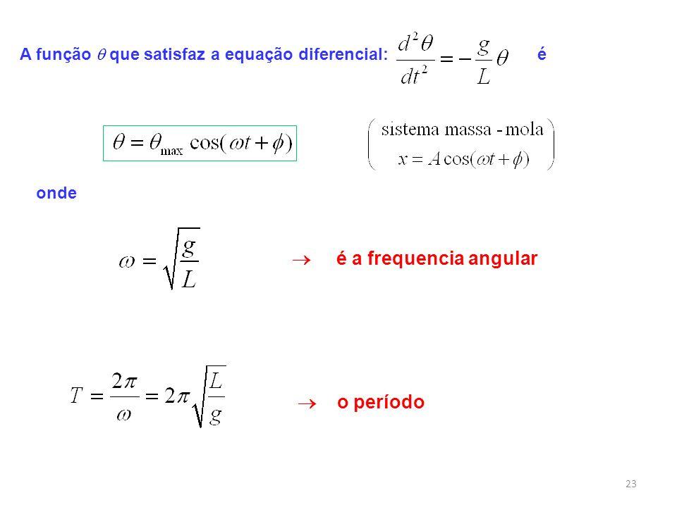 23 A função que satisfaz a equação diferencial: é onde é a frequencia angular o período
