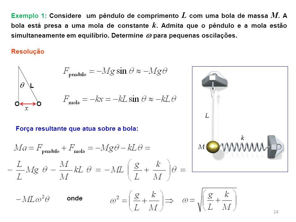 24 Exemplo 1: Considere um pêndulo de comprimento L com uma bola de massa M. A bola está presa a uma mola de constante k. Admita que o pêndulo e a mol