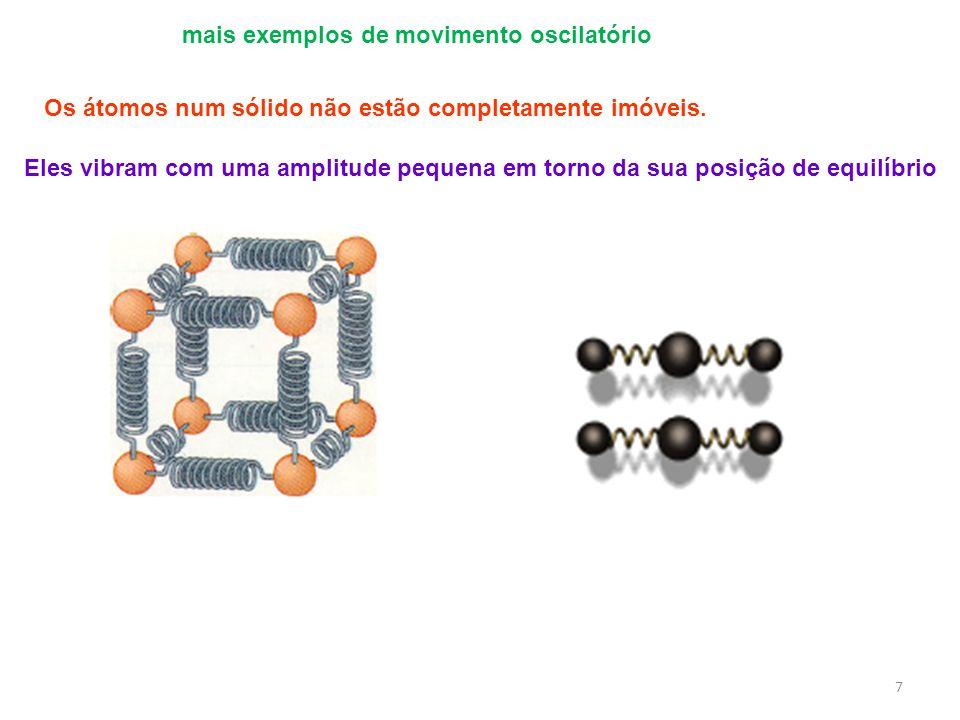 mais exemplos de movimento oscilatório 7 Os átomos num sólido não estão completamente imóveis. Eles vibram com uma amplitude pequena em torno da sua p