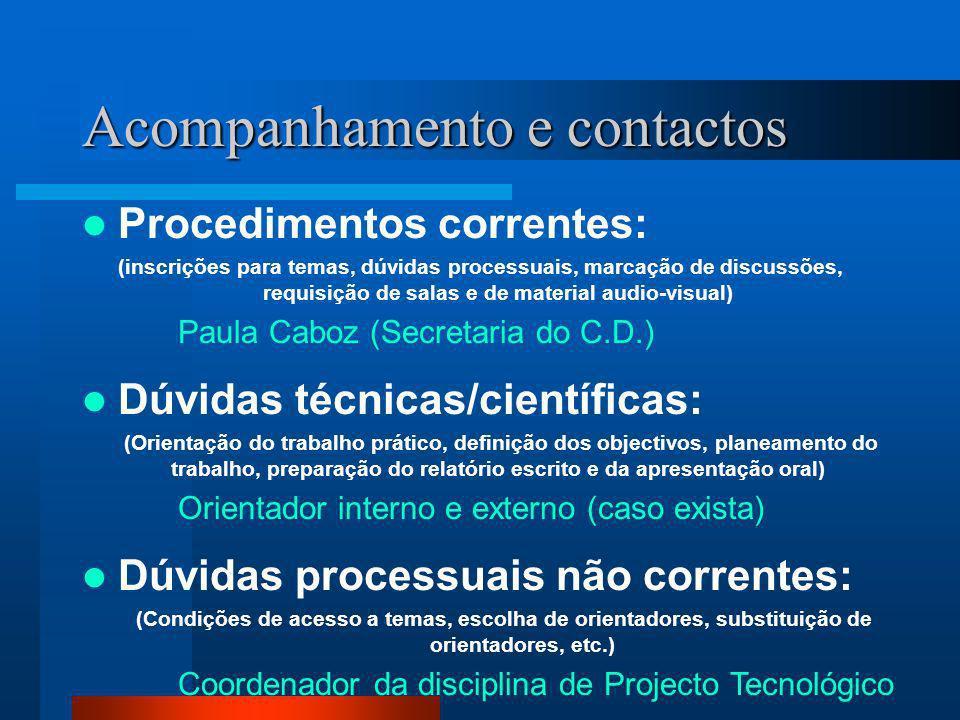 Acompanhamento e contactos Procedimentos correntes: (inscrições para temas, dúvidas processuais, marcação de discussões, requisição de salas e de mate